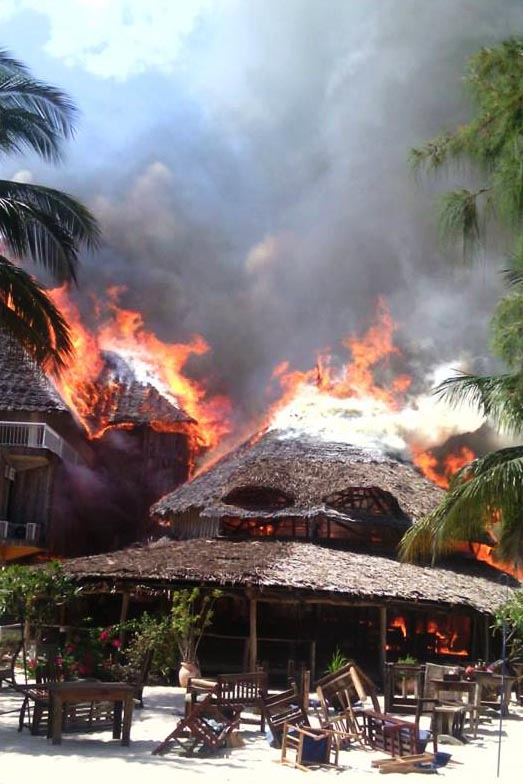 Kendwa Rocks went up in flames this morning. Photo contributed:  Danish Unia