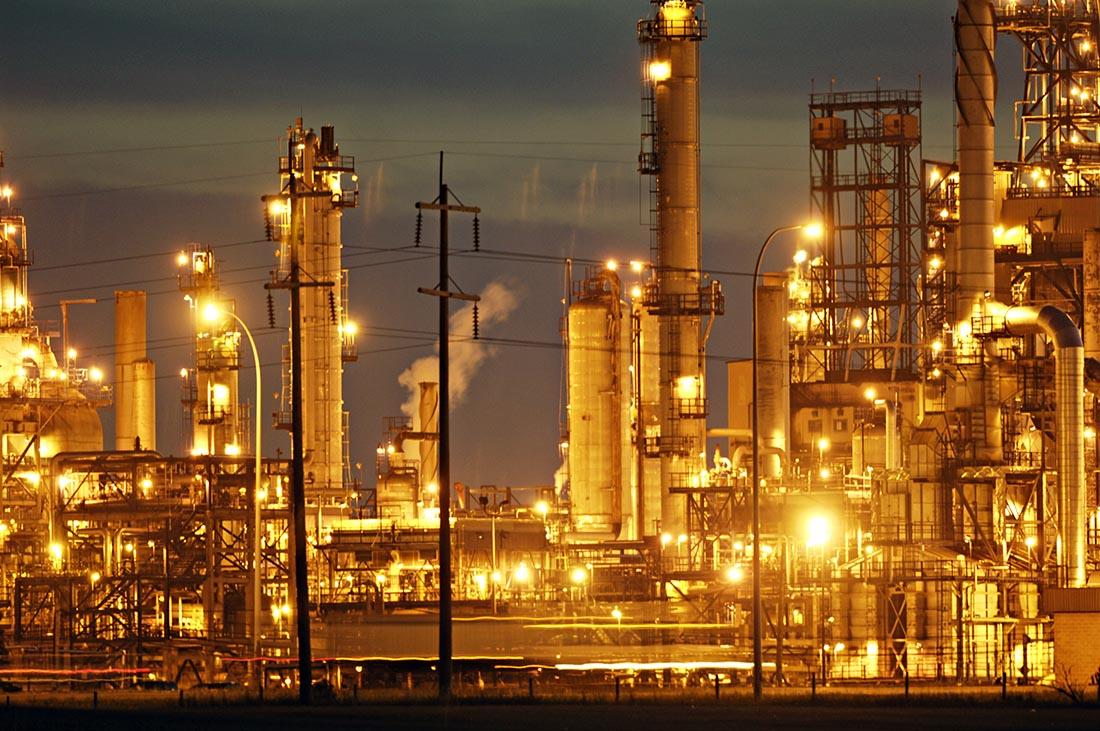 An oil refinery in western Canada. A fuel tariff is has been proposed to help provide power for rural Tanzania. Photo: Daniel Hayduk