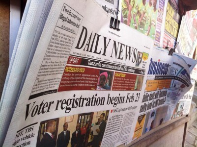 Headlines proclaim the start of voter registration. Photo: Daniel Hayduk