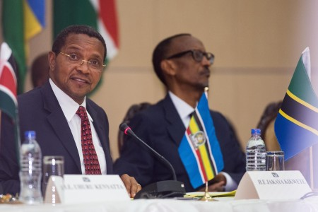 East African Community chair and Tanzanian President Jakaya Kikwete speaks at the extra-ordinary summit on Wednesday. Photo: Daniel Hayduk