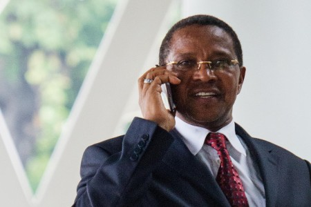 President Kikwete on the phone. Photo: Daniel Hayduk