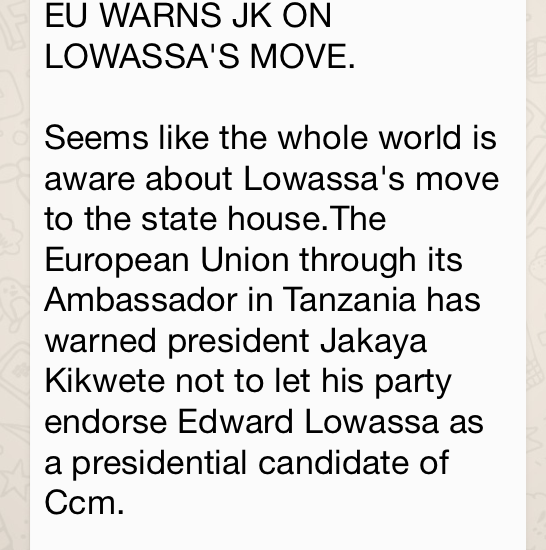 A hoax message circulating on social media about the EU cautioning against a presidential candidate.