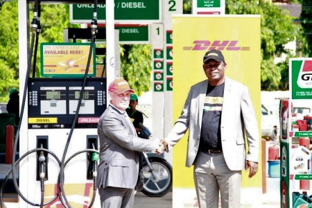 L-R Puma Energy Managing Director Philippe Corsaletti and DHL Express Country Director Maurice Effombo. Photo: contributed