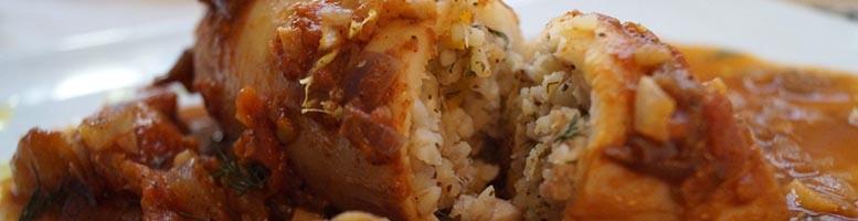 Bulgar stuffed calamari.