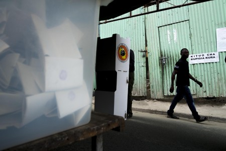 A man leaves a polling station. Photo: Daniel Hayduk