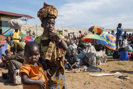 Burundian refugees in the Lake Tanganyika stadium in Kigoma, Tanzania on May 22, 2015. Photo: Daniel Hayduk