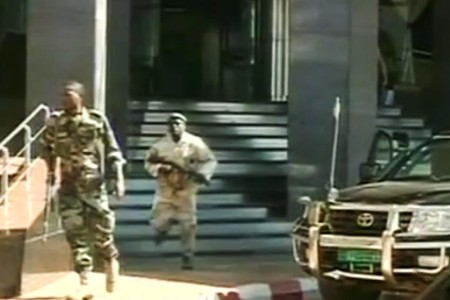 This framegrab from Malian state broadcaster ORTM shows troops at the Radisson Blu. Photo: ORTM