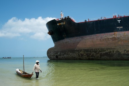 The Marshall Islands flagged tanker vessel 'Miracle' ran aground on Saturday, February 13, 2016. Photo: Daniel Hayduk